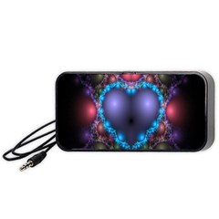 Blue Heart Fractal Image With Help From A Script Portable Speaker (Black)