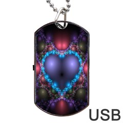 Blue Heart Fractal Image With Help From A Script Dog Tag USB Flash (One Side)