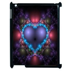 Blue Heart Fractal Image With Help From A Script Apple iPad 2 Case (Black)