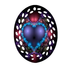 Blue Heart Fractal Image With Help From A Script Oval Filigree Ornament (two Sides)