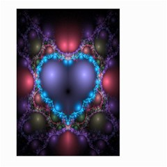 Blue Heart Fractal Image With Help From A Script Large Garden Flag (two Sides)