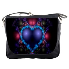 Blue Heart Fractal Image With Help From A Script Messenger Bags