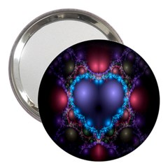 Blue Heart Fractal Image With Help From A Script 3  Handbag Mirrors