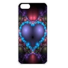 Blue Heart Fractal Image With Help From A Script Apple iPhone 5 Seamless Case (White)