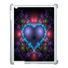 Blue Heart Fractal Image With Help From A Script Apple iPad 3/4 Case (White)