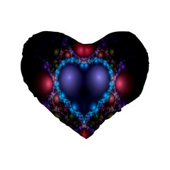 Blue Heart Fractal Image With Help From A Script Standard 16  Premium Heart Shape Cushions