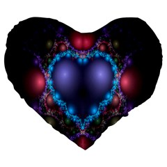 Blue Heart Fractal Image With Help From A Script Large 19  Premium Heart Shape Cushions
