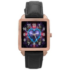 Blue Heart Fractal Image With Help From A Script Rose Gold Leather Watch