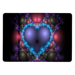 Blue Heart Fractal Image With Help From A Script Samsung Galaxy Tab 10 1  P7500 Flip Case