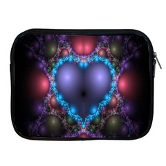 Blue Heart Fractal Image With Help From A Script Apple Ipad 2/3/4 Zipper Cases