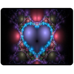 Blue Heart Fractal Image With Help From A Script Double Sided Fleece Blanket (Medium)