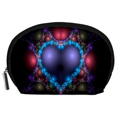 Blue Heart Fractal Image With Help From A Script Accessory Pouches (Large)