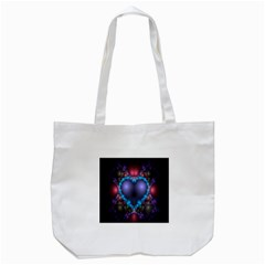 Blue Heart Fractal Image With Help From A Script Tote Bag (White)