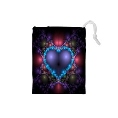 Blue Heart Fractal Image With Help From A Script Drawstring Pouches (Small)