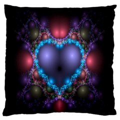 Blue Heart Fractal Image With Help From A Script Standard Flano Cushion Case (one Side)