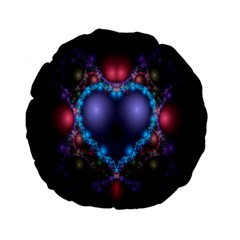 Blue Heart Fractal Image With Help From A Script Standard 15  Premium Flano Round Cushions