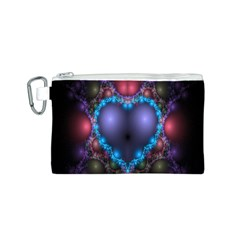 Blue Heart Fractal Image With Help From A Script Canvas Cosmetic Bag (S)