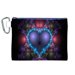 Blue Heart Fractal Image With Help From A Script Canvas Cosmetic Bag (XL)