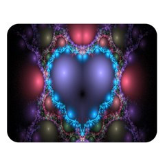 Blue Heart Fractal Image With Help From A Script Double Sided Flano Blanket (large)
