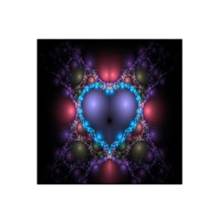 Blue Heart Fractal Image With Help From A Script Satin Bandana Scarf