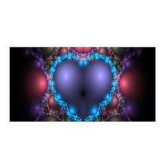 Blue Heart Fractal Image With Help From A Script Satin Wrap