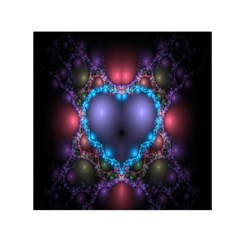 Blue Heart Fractal Image With Help From A Script Small Satin Scarf (Square)