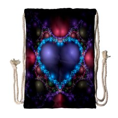 Blue Heart Fractal Image With Help From A Script Drawstring Bag (large)