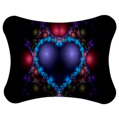 Blue Heart Fractal Image With Help From A Script Jigsaw Puzzle Photo Stand (bow)