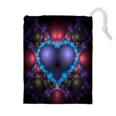 Blue Heart Fractal Image With Help From A Script Drawstring Pouches (extra Large)