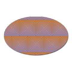 Brick Wall Squared Concentric Squares Oval Magnet