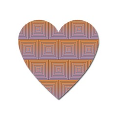 Brick Wall Squared Concentric Squares Heart Magnet