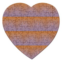Brick Wall Squared Concentric Squares Jigsaw Puzzle (Heart)