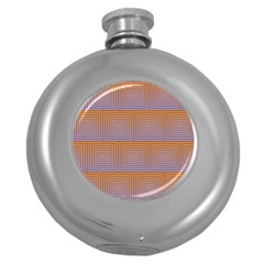 Brick Wall Squared Concentric Squares Round Hip Flask (5 oz)