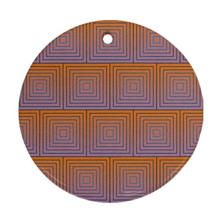 Brick Wall Squared Concentric Squares Round Ornament (Two Sides)