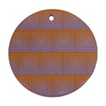 Brick Wall Squared Concentric Squares Round Ornament (Two Sides) Back