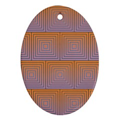 Brick Wall Squared Concentric Squares Oval Ornament (two Sides)