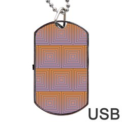 Brick Wall Squared Concentric Squares Dog Tag USB Flash (Two Sides)