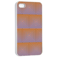 Brick Wall Squared Concentric Squares Apple iPhone 4/4s Seamless Case (White)