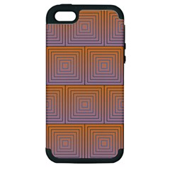 Brick Wall Squared Concentric Squares Apple iPhone 5 Hardshell Case (PC+Silicone)