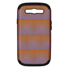 Brick Wall Squared Concentric Squares Samsung Galaxy S III Hardshell Case (PC+Silicone)