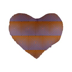 Brick Wall Squared Concentric Squares Standard 16  Premium Heart Shape Cushions