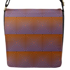 Brick Wall Squared Concentric Squares Flap Messenger Bag (S)