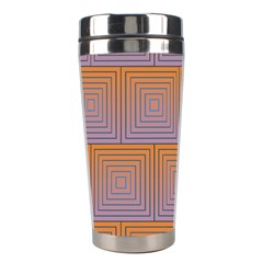 Brick Wall Squared Concentric Squares Stainless Steel Travel Tumblers