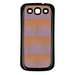 Brick Wall Squared Concentric Squares Samsung Galaxy S3 Back Case (black)