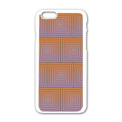Brick Wall Squared Concentric Squares Apple iPhone 6/6S White Enamel Case