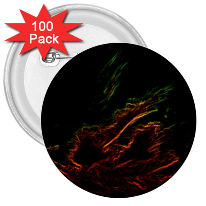 Abstract Glowing Edges 3  Buttons (100 pack)