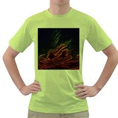 Abstract Glowing Edges Green T Shirt