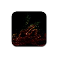 Abstract Glowing Edges Rubber Square Coaster (4 pack)