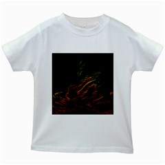 Abstract Glowing Edges Kids White T Shirts