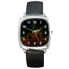 Abstract Glowing Edges Square Metal Watch